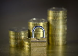 gold coins and a lock